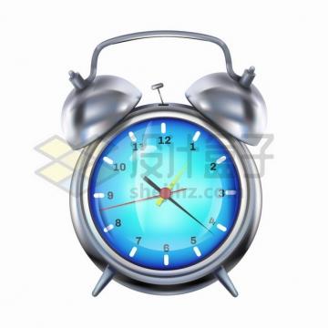 蓝色表盘银灰色的闹钟时钟png图片素材