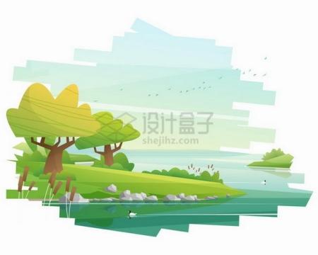 卡通河流草地和大树风景插画png图片素材