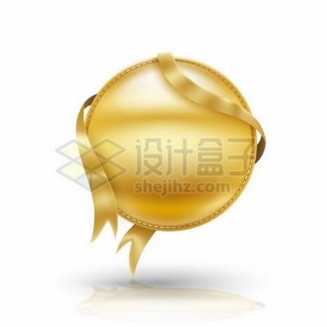 金色金属飘带和圆形金属文本框信息框标题框670972png图片素材
