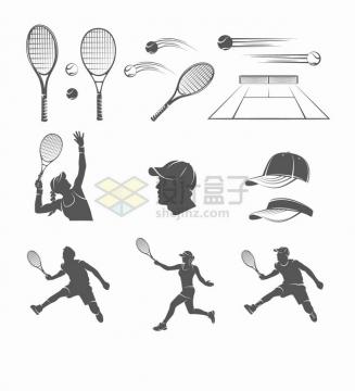 黑白色网球球拍和运动员球场帽子png图片素材