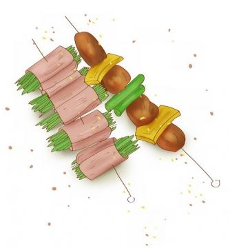 烧烤蔬菜卷肉串png图片免抠素材