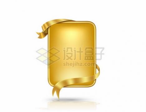 金色金属飘带装饰的方形金属文本框信息框标题框951405png图片素材