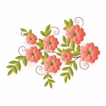 带有绿叶的红色昙花鲜花装饰png图片免抠eps矢量素材