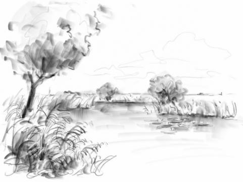 水墨画风格河流和河边的芦苇大树风景速写991025png免抠图片素材