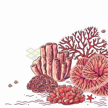 漫画风格红色珊瑚海底世界风光png图片免抠矢量素材
