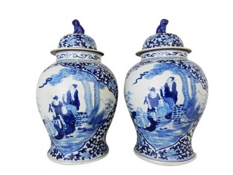 两个青花瓷陶瓷罐子801544png图片素材