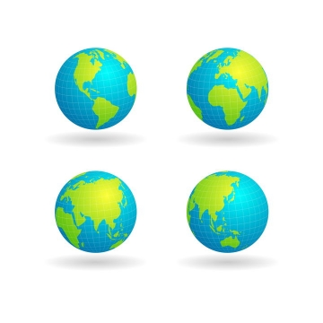4款不同角度的经纬线蓝色绿色地球png图片免抠矢量素材