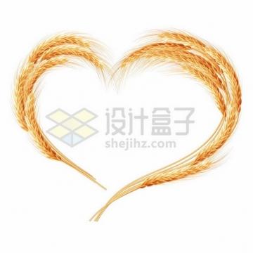 组成心形图案的小麦麦穗627318png图片素材
