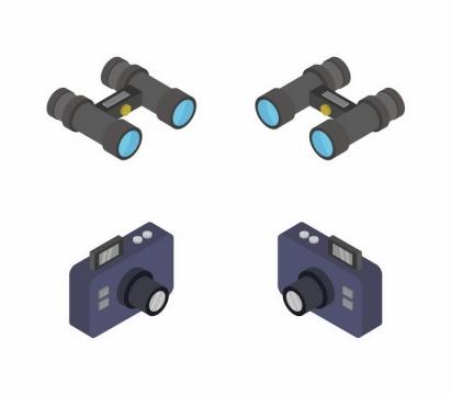 2.5D风格双筒望远镜和照相机png图片免抠矢量素材