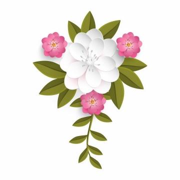 带有绿叶的白色和玫红色鲜花花朵装饰png图片免抠eps矢量素材