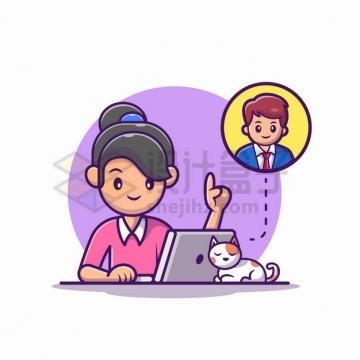 MBE风格正在跟男同事用笔记本电脑聊天的卡通女孩和猫咪png图片素材