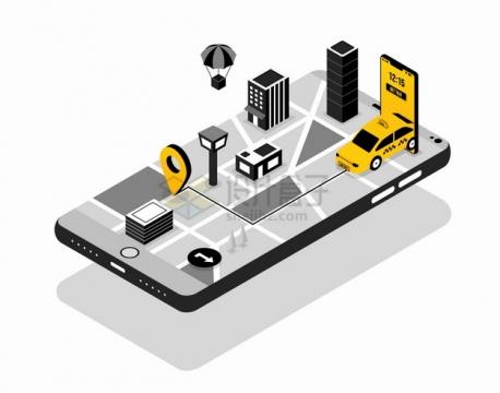 黑白色手机上出租车和3D立体地图png图片素材