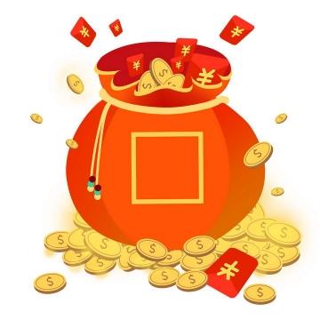 高清打开的福袋和大量的金币与红包促销活动图片免抠素材