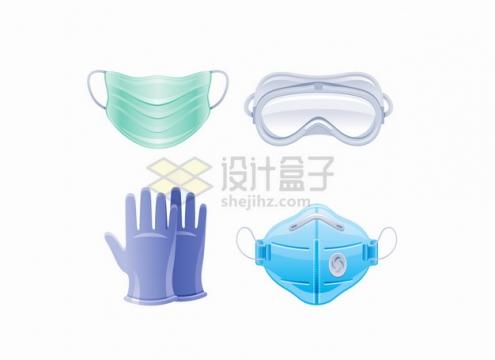 一次性医用口罩护目镜防护手套N95口罩新冠病毒疫情png图片素材