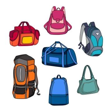 7款双肩背包单肩包旅行包png图片免抠矢量素材