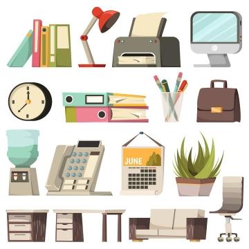 扁平插画风格台灯打印机显示器文件夹办公桌等办公室物品图片免抠矢量图素材