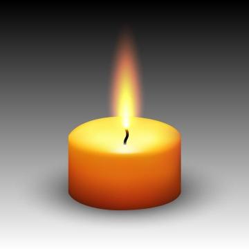 一根快要燃烧完的黄色蜡烛免抠矢量图片素材