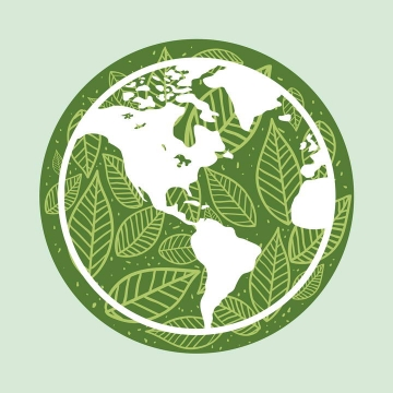 绿叶组成的地球图案环保主题图片免抠素材