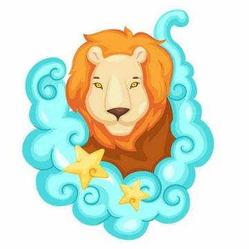 卡通漫画十二星座之狮子座png图片免抠矢量素材
