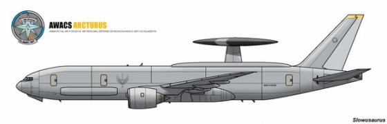 """美军E-3B""""望楼""""大型空中预警机侧面图659923png图片免抠素材"""