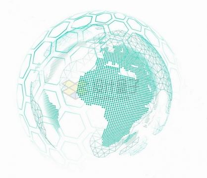 蓝色发光效果六边形方块包裹着的点阵状地球模型png图片免抠矢量素材
