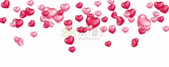 飘落的红色粉色红心爱心装饰png图片免抠矢量素材