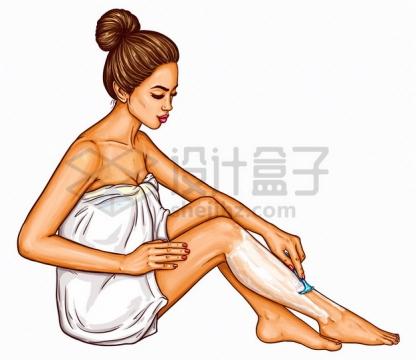 波普风格裹着白色浴巾的美女用剃刀刮腿毛png图片素材