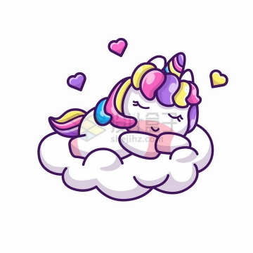 卡通独角兽在白云上睡觉超可爱png图片免抠矢量素材