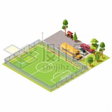 2.5D风格足球场绿茵场和旁边停车场上的汽车954319png图片素材