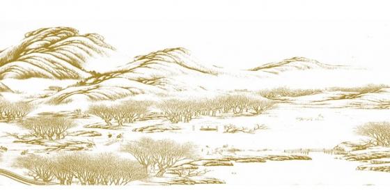 黄色水墨画风格丘陵山区和树林风景速写插画183748png免抠图片素材