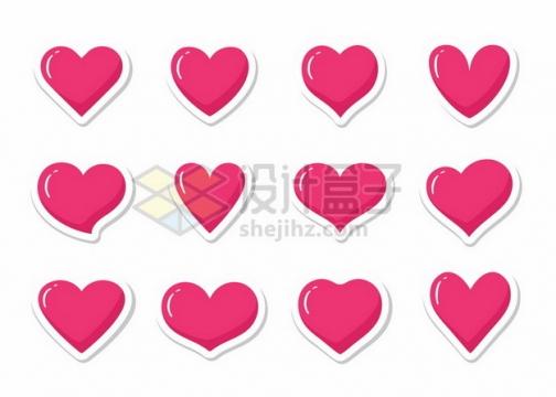 12款白色描边的卡通红心心形图案649410png图片素材