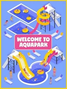2.5D等距风格游泳池滑滑梯等夏天游乐场设施图片设计素材