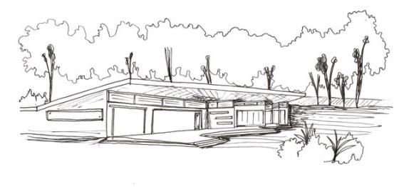 别墅和树林风景速写铅笔画691838png免抠图片素材