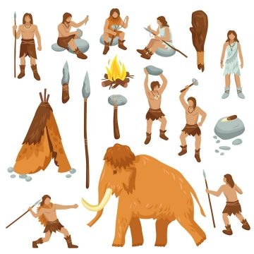 手绘风格原始社会猛犸象和狩猎的原始人图片免抠素材