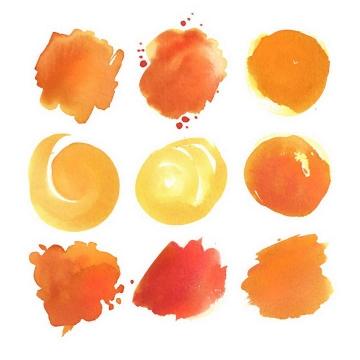 九款不同风格的橙色水彩画涂鸦素材
