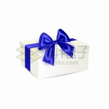 深蓝色丝带蝴蝶结的空白包装盒礼物盒png图片免抠矢量素材