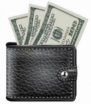 黑色鳄鱼皮钱包中的100美元钞票纸币png图片素材