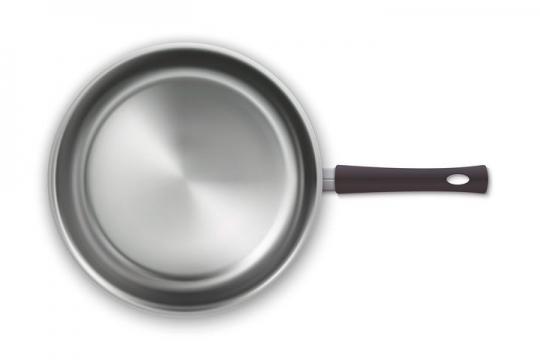 银色平底锅俯视图厨房厨具免抠矢量图片素材