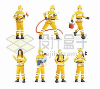 7款拿着消防斧水管水桶灭火和正在解救民众的消防员png图片免抠矢量素材