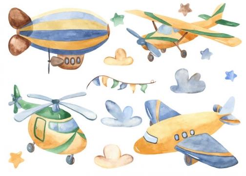 手绘风格卡通飞艇直升飞机等飞行交通工具图片免抠素材