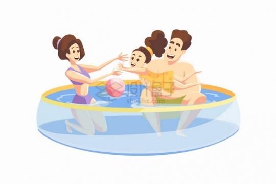 和卡通爸爸妈妈在塑料游泳池中玩耍的孩子六一儿童节亲子关系png图片素材