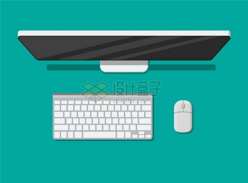 俯视视角的电脑显示器键盘和鼠标png图片素材