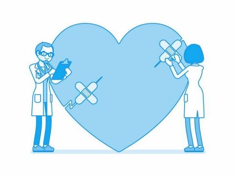 蓝色卡通医生正在用创口贴粘贴心形图案png图片免抠eps矢量素材