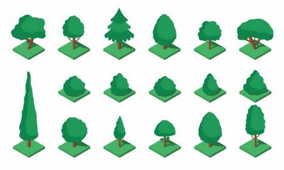 17棵卡通风格的景观树木绿树盆景树png图片免抠矢量素材