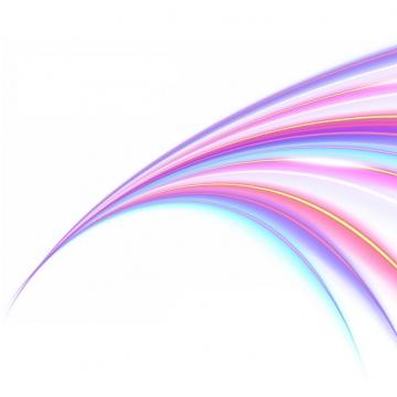 绚丽的七彩虹色发光曲线线条装饰107505png图片素材