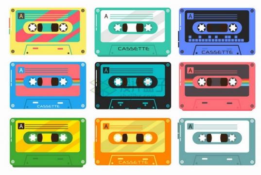 6种颜色包装的磁带复古音乐用品png图片免抠矢量素材