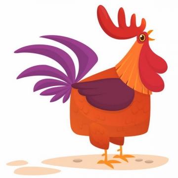 正在鸣叫的卡通公鸡打鸣png图片免抠矢量素材