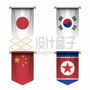悬挂的日本韩国中国朝鲜国旗三角旗png图片素材
