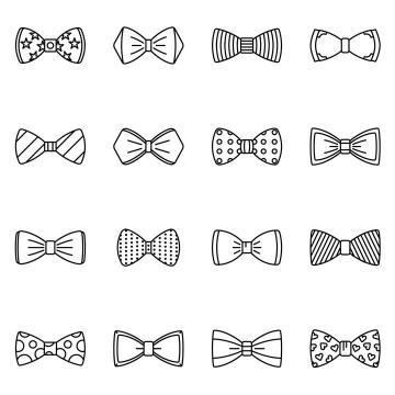 16款简约线条风格的蝴蝶结图案免抠矢量图片素材