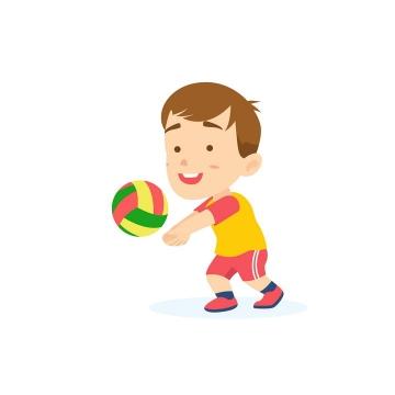 玩排球的卡通小男孩png图片免抠矢量素材